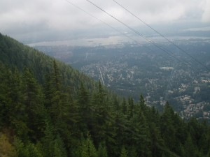 on the skyride to grouse mountain
