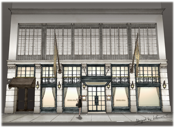 a sketch of the facade of the new Prime Grill