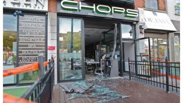 Chops Resto Bar post attack in 2012  (Image from Montreal Gazette)