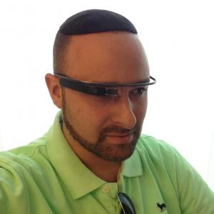 Hillel Fuld, a tech evangelist in Israel, testing out Google Glass