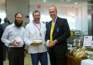 (From l. to r.) Joseph Gopin, CEO of Kosher Central Market in Hollywood, Fla., Chef Allen Susser and Matt King, president of Delaware North Companies Travel