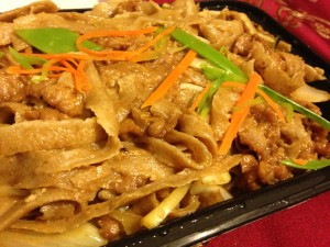 Whole wheat knife-cut lamb stir-fry