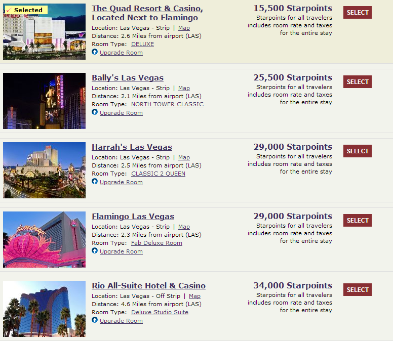 Caesars Hotels Vegas Using Spg Starpoints