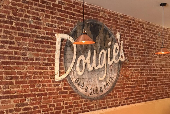 Interior of Dougie's BBQ Brooklyn [Image by @bizdesigns_llc Graffiti by @intelligentgraffiti]