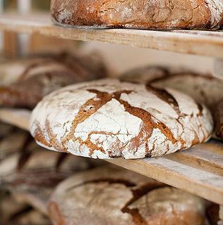 Racks of freshly baked bread