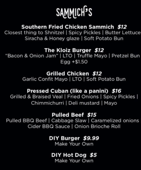 Sammich Food Truck Menu
