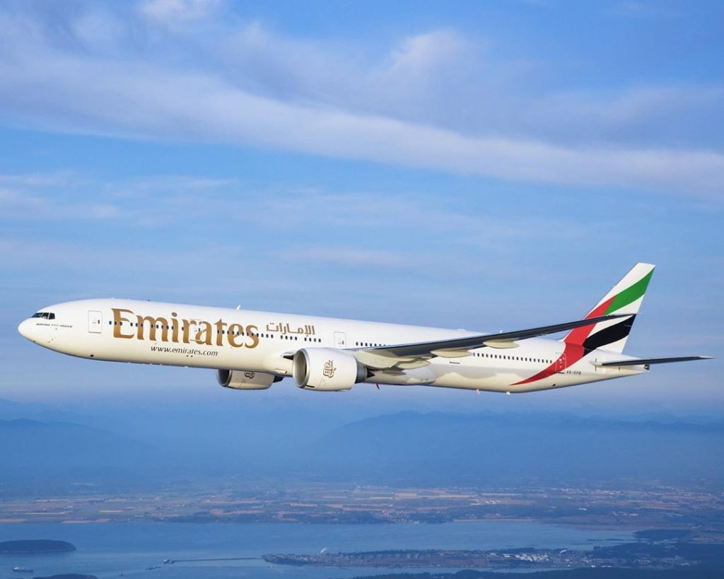 an emirates plane in the air