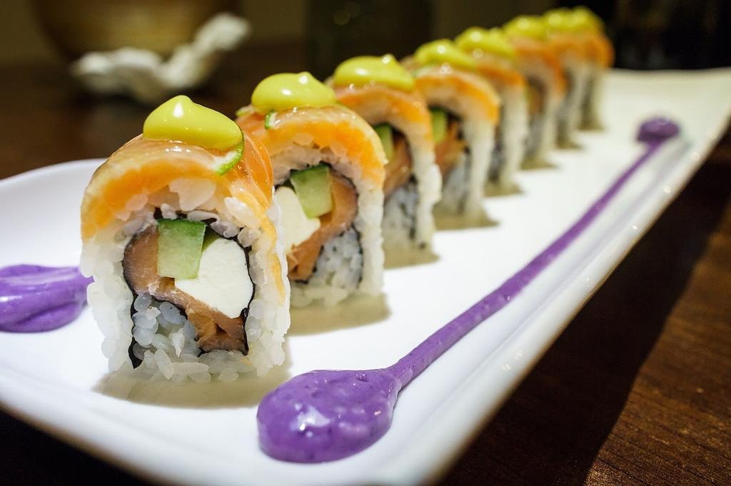 sushi roll with purple sauce