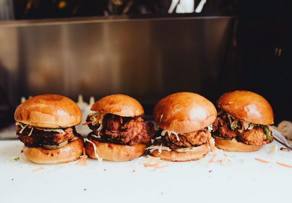 4 sliders with fried chicken