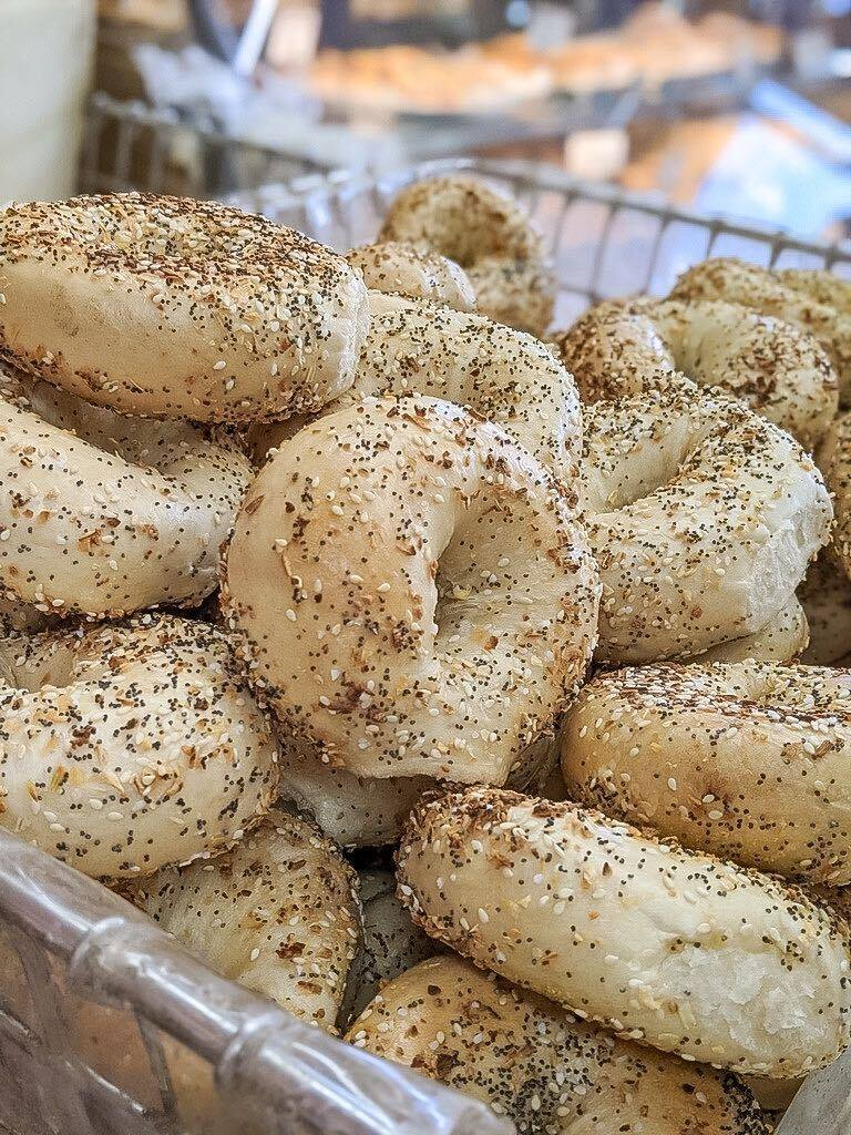 a pile of fresh everything bagels