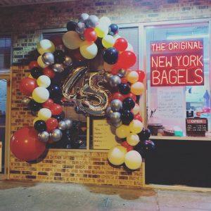 bagel shop bakery storefront birthday celebration