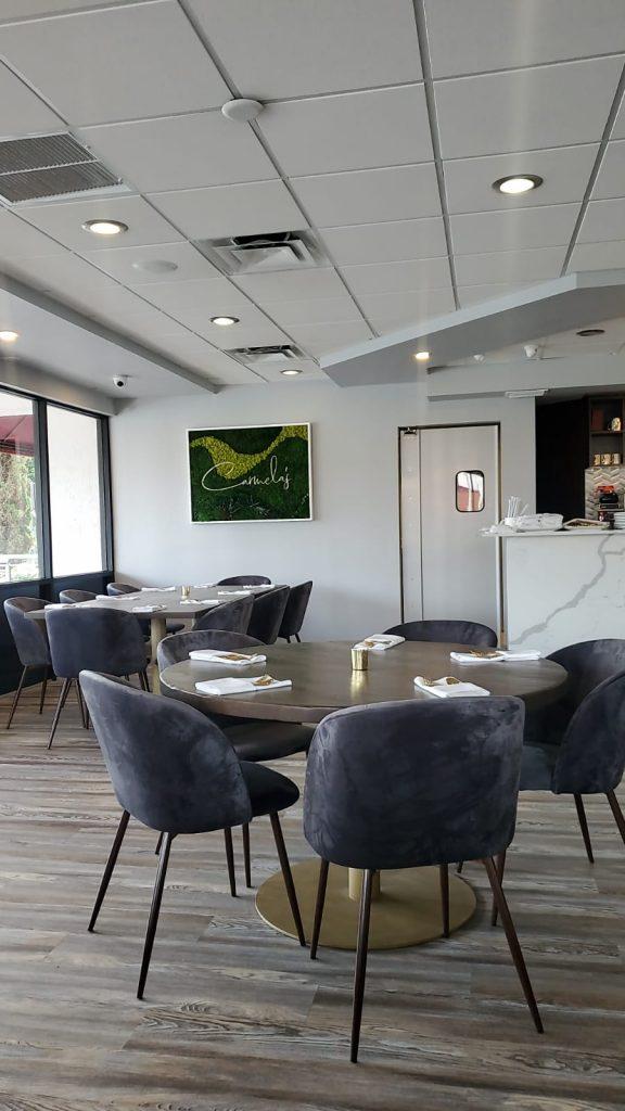white and grey restaurant interior