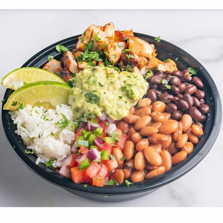 burrito bowl with toppings