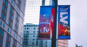 a sign for Superbowl LV