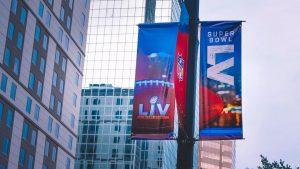 a sign for Superbowl LV