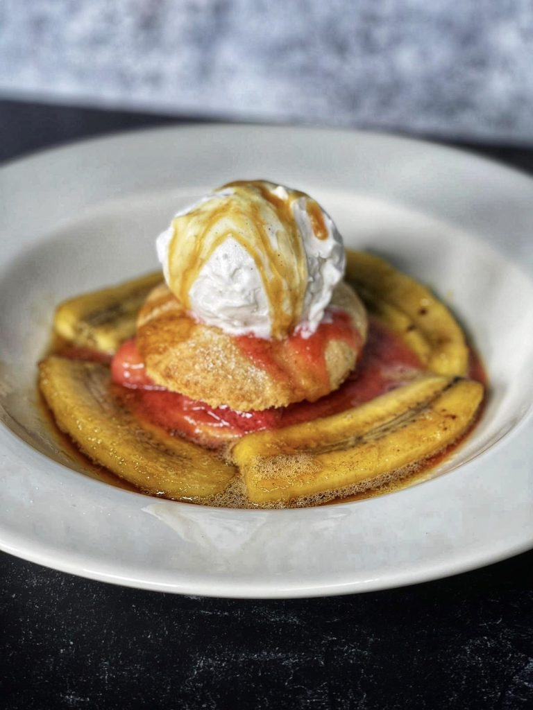 bananas foster in a white bowl